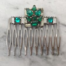Handmade bridal hair comb with Emerald vintage rhinestone jewelry