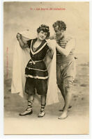 c 1903 French Swimsuit BATHING BEAUTY Belle The Swimming Lesson photo postcard