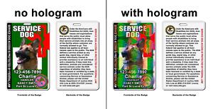 Service Dog Asclepius Medical Symbol ADA green Badge wallet card ID