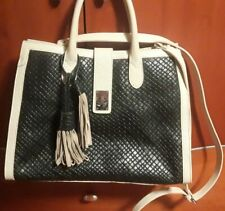CLAUDIA FIRENZE ITALY GENUINE Leather HANDBAG  Black / Ivory