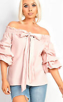 Womens Off Shoulder Wrap Tie Front Bow shirt Top Short Ruffle Sleeve Bardot dres