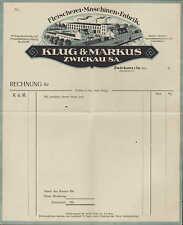 ZWICHAU i. Sa., Briefbogen um 1925, Fleischerei-Maschinen-Fabrik Klug & Markus