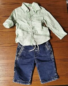 Jungen Hochzeits Outfit 104 H&M kurze Hose Hemd wie neu Jeans Karo-Hemd grün