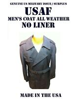 MEN'S 42R US MILITARY USAF BLUE COAT ALL WEATHER NO LINER TRENCH JACKET OVERCOAT