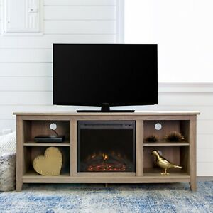 """Walker Edison WE Furniture Traditional Wood Fireplace Stand for TV's up to 64"""""""