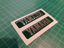 x2 YAMAHA RESIN DOMED STICKERS / DECALS DARK GREEN / CHROME SILVER