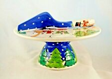 Flambro Cake Plate Collectable Snowman Cake Plate & Server Imports NEW 2002