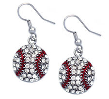 Baseball Ball Sport Heart Charm Hook Earrings Gift for Baseball Girl Mom e111h