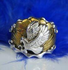 Men's Vintage keen Eagle Vermeil & 0.925 Sterling Silver Sturdy Ring Size 8