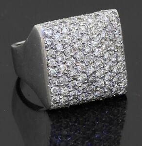 Heavy 18K white gold 5.0CT VS diamond cluster cocktail ring size 9