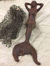 Large Rustic Metal Mermaid Yard/Pond Statue/Garden Sculpture/Coastal Shelf Decor