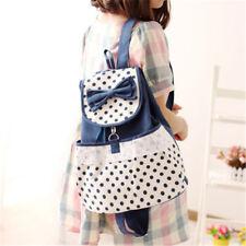 Women's Korean Fashion Cute Canvas Satchel Girls Sweet Lace Bowknot Backpack New