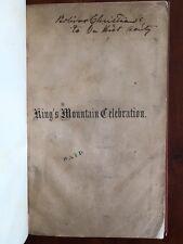 RARE 1855 Kings Mountain N. Carolina Revolutionary War Battle pamphlet Yorkville