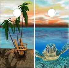 Beach Scene Sea Turtle Cornhole Wrap Bag Toss Skin Decal Sticker Wraps
