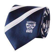52142 GEELONG CATS AFL TEAM COLOURS & LOGO STRIPED MENS DRESS NECK TIE