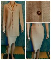 St. John Knits Collection Gold Brown Jacket Skirt L 10 12 2pc Suit Buttons