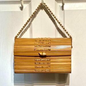 Original Vintage 1950s Wooden Bamboo Box Handbag Purse Beautiful Tote