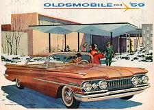 "VINTAGE ORIGINAL 1959 OLDSMOBILE 98 & DYNAMIC 88 HOLIDAY MAGAZINE AD 10"" X 13"""