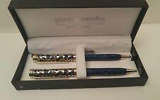 Pierre Cardin Pen & Pencil Set Blue w/ Gold Cutout Detail And Bonus Stylus