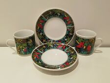 Vintage Humming Bird Espresso Cups and saucers Jungle Flowers Flying Birds x2