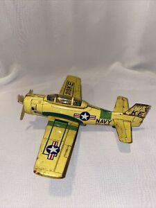 Yellow Tin Friction Toy Navy 315 KE Plane Made In Japan