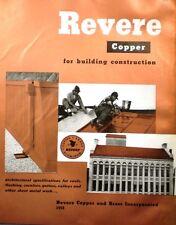 1959 REVERE Copper & Brass Catalog ASBESTOS Asphalt Elastic Cement Roofs Roofing