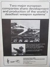 9/1971 PUB UVP EUROMISSILE AEROSPATIALE MBB ROLAND AIR DEFENSE HOT ANTI TANK AD