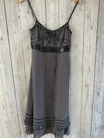Womens / Ladies Whistles London Grey 100% Silk Slip Dress Fully Lined Size 8
