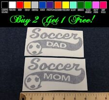 "x2 Soccer Dad + Mom 7"" Vinyl Sticker Decal - Choose Color! bumper car window"