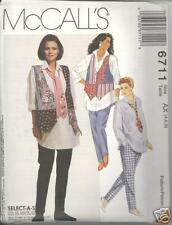 McCall's 6711 Maternity Vest,Shirt,Tie, Leggings  8, 10, 12   Sewing Pattern