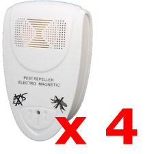 4 X ELETTRONICA UK Plug-In a ultrasuoni roditori Pest Repeller Fly Repellente per topi ratti