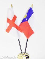 England & Wake Island Double Friendship Table Flag Set