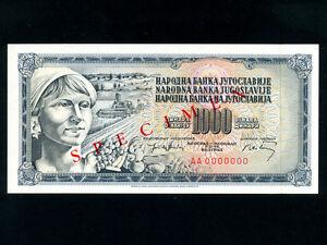 Yugoslavia:P-86s,1000 Dinara,1974 * Specimen * UNC *
