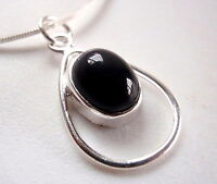 Black Onyx Pendant Cabochon Oval in Hoop 925 Sterling Silver New