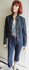 VERSACE Jeans Couture Tailleur-Pantalon Jeans Costume Taille 38 avec dentelle lilas RAR