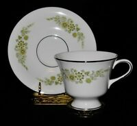 Wedgwood CAROLINE Footed Cup & Saucer Set, Green & Yellow Florals
