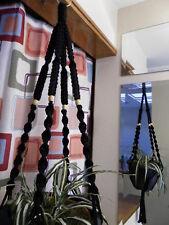 Macrame Plant Hanger BLACK 4 TAN BEADS