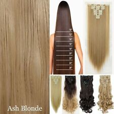 US Real Natural Full Head Clip in Hair Extension 18 clips on Straight Curly Wavy