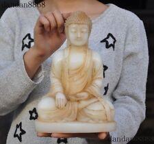 Tibet Fane Old Jade carved Shakyamuni Sakyamuni Amitabha Tathagata Buddha Statue