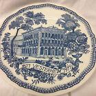 """WOOD & SONS NORWEGIAN AMERICAN MUSEUM VESTERHEIM BLUE DINNER PLATE 9 7/8"""""""