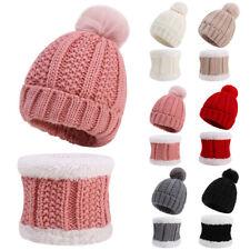 Toddler Kids Girl Warm Winter Pom Pom Bobble Hat Knit Beanie Boy Cap + Scarf Set