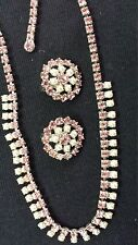 Signed B. David Vintage Pink Rhinestone And Pearl Earrings And Necklace NICE