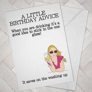 FUNNY Birthday Card wine lover drinker Best friend girl female woman prosecco