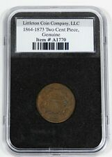 Littleton Encased 1864-1873 Two Cent Piece  1865 Genuine Two Cent