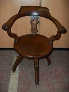Antique oak Arts & Crafts Swivel Office Desk Captains bankers Chair Pos deliver