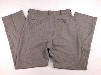 Polo Ralph Lauren Wool Blend Gray Black Plaid Pleated Pants Mens 34x36 (32x34)