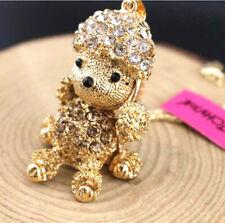 Pendant Fashion Betsy Johnson Jewelry Rhinestone Poodle Golden Charm Necklace