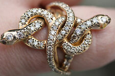 ILEANA MAKRI PINK GOLD/DIAMOND POISON HUG SNAKE RING
