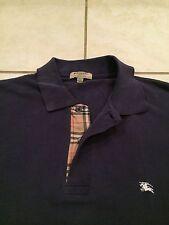 Men's Burberry London Polo Button Shirt Navy Blue Nova Check Plaid Haymarket XL