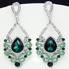 Fashion Jewelry Women Drop Earrings Green Rhinestone Silver Plated Chandelier